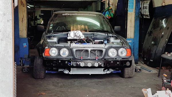 BMW E34 with a supercharged 13B two-rotor