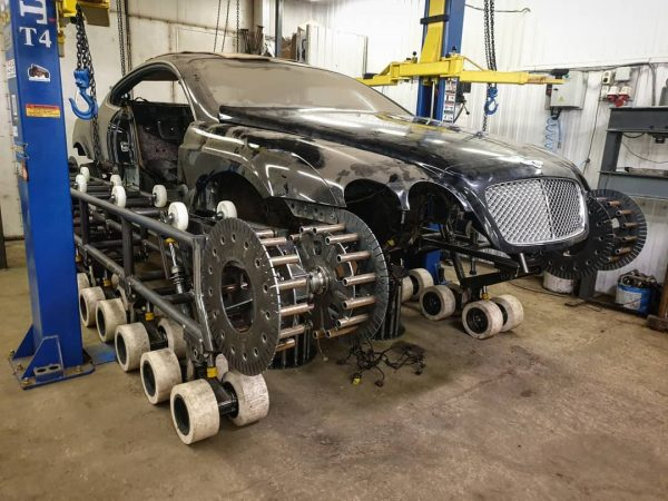 Bentley Continental GT with a Toyota V8 and Caterpillar Tracks