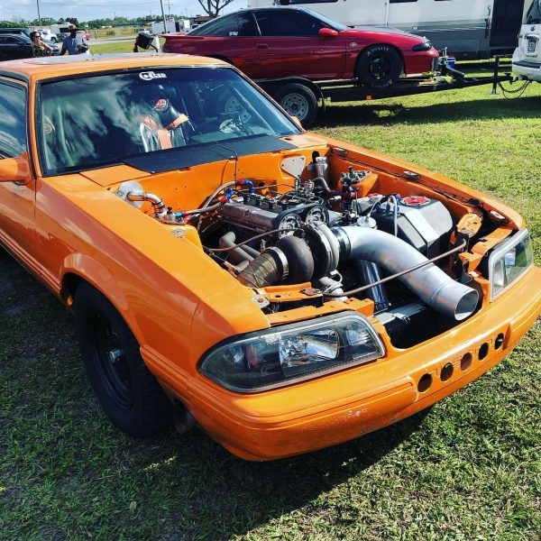 1987 Mustang with a turbo 4G63 inline-four