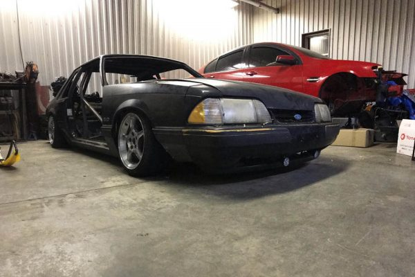 Foxbody Mustang with a turbo Honda K20 inline-four