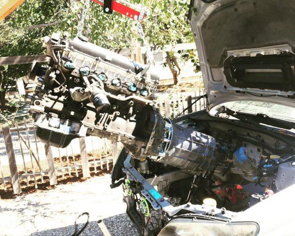 Turbo 1JZ-GTE Inline-Six and Nissan 350Z manual transmission going into a Subaru WRX
