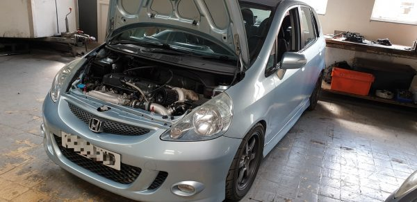 Honda Jazz with a turbo K20 inline-four