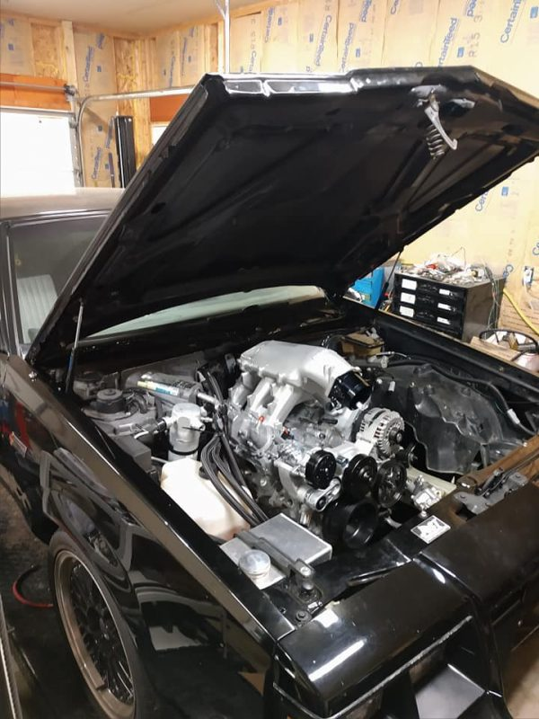 4.3 L Ecotec V6 with a modified Holley LT1 V8 hi-rise intake and oil pan in a Grand National engine bay