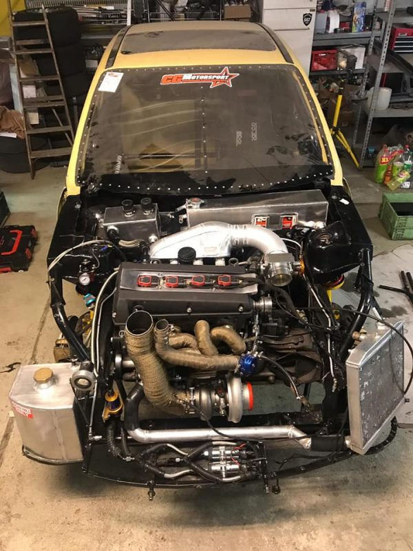 Opel Corsa with a turbo Saab B204 inline-four