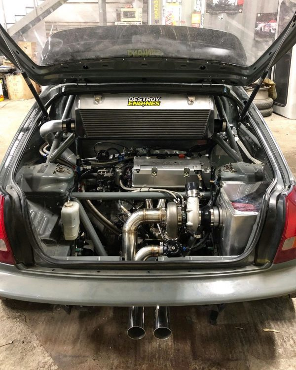 Honda Civic with a mid-engine turbo K24 inline-four
