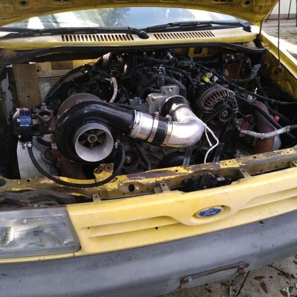 Mazda Miata with a Ford Festiva body and turbo LSx V8