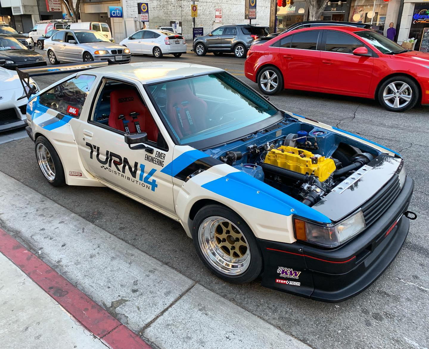 Toyota AE86 with a turbo K20C1 inline-four