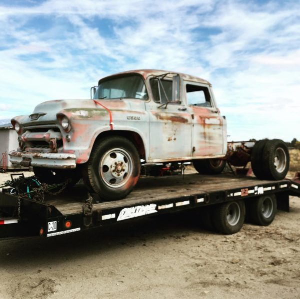 1955 Chevy 6500 truck with a twin-turbo Duramax V8