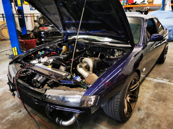 Nissan S14 with a turbo RB26 inline-six