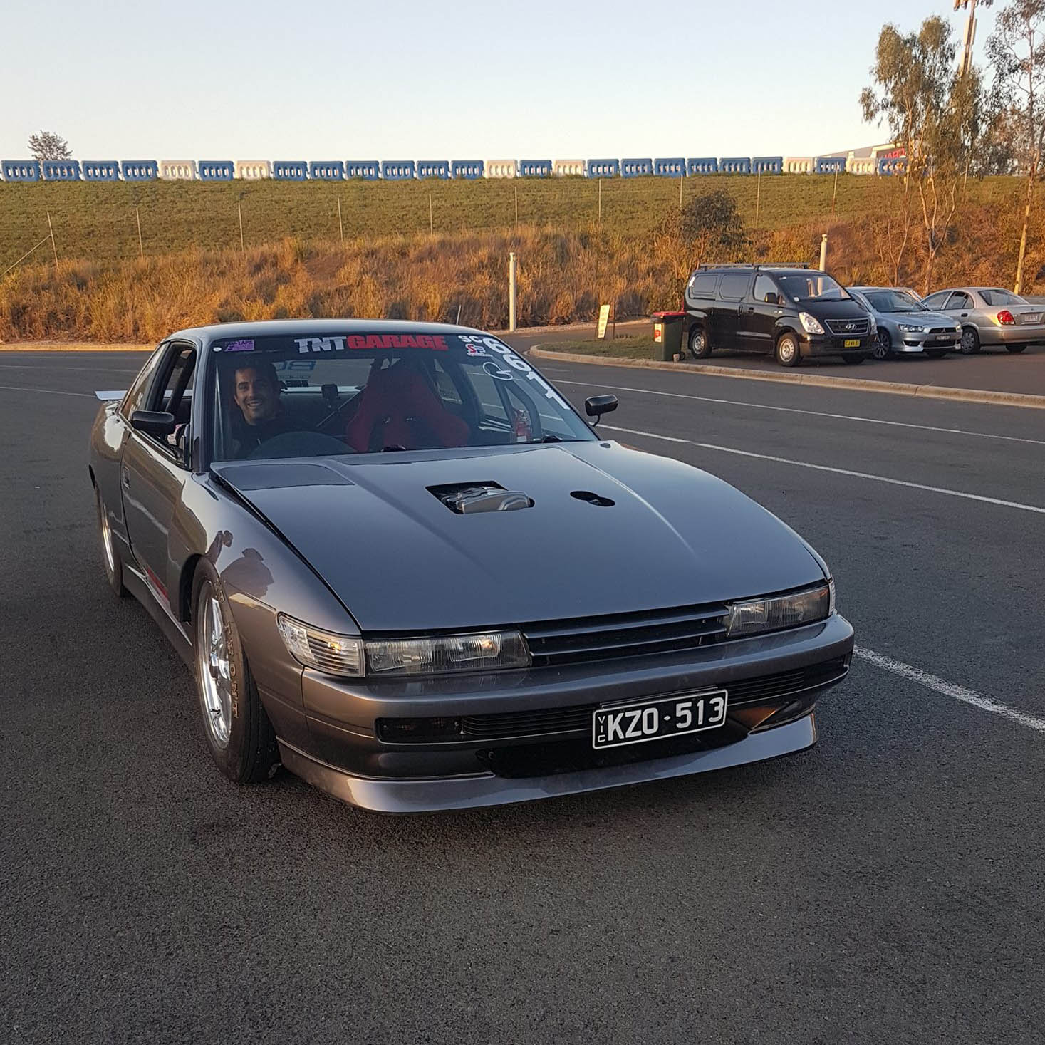 Nissan S13 with a turbo K20 inline-four