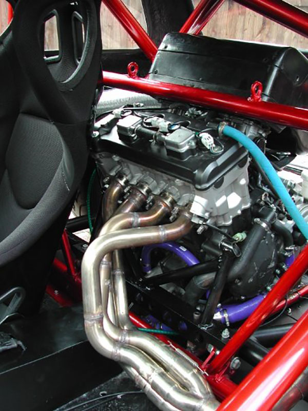 Mini race car with a mid-engine Honda CBR1000RR motor