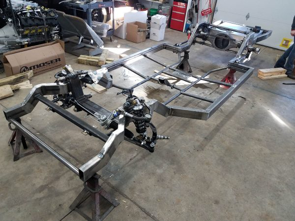 Scotts Hotrods 'n Customs chassis for a 1959 Thunderbird with a Coyote V8