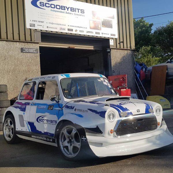 Custom Mini with a turbo EJ20 flat-four and AWD drivetrain