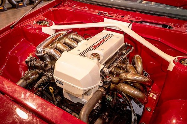 supercharged 3S-GE BEAMS inline-four inside Fernando Montero's Toyota AE86