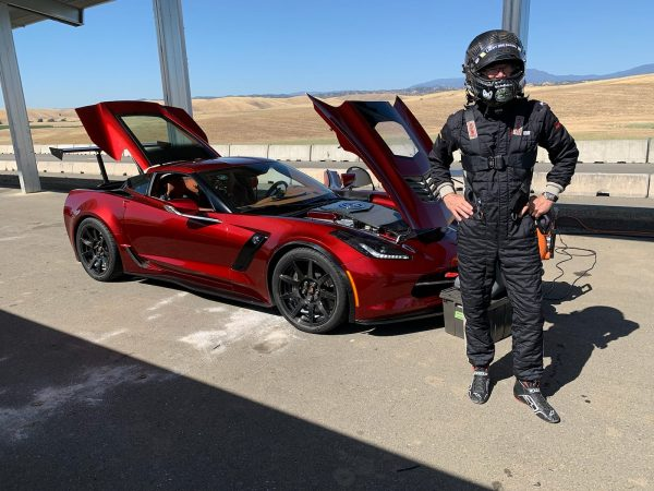 Randy Pobst driving the GXE Electric Corvette Grand Sport