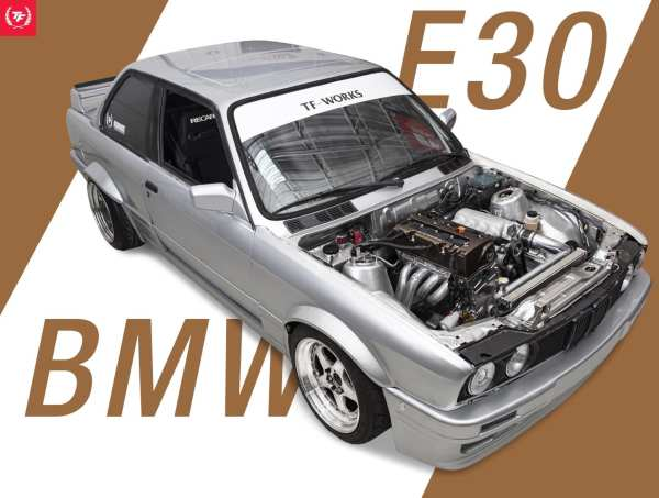 BMW E30 325is with a Honda K24 inline-four