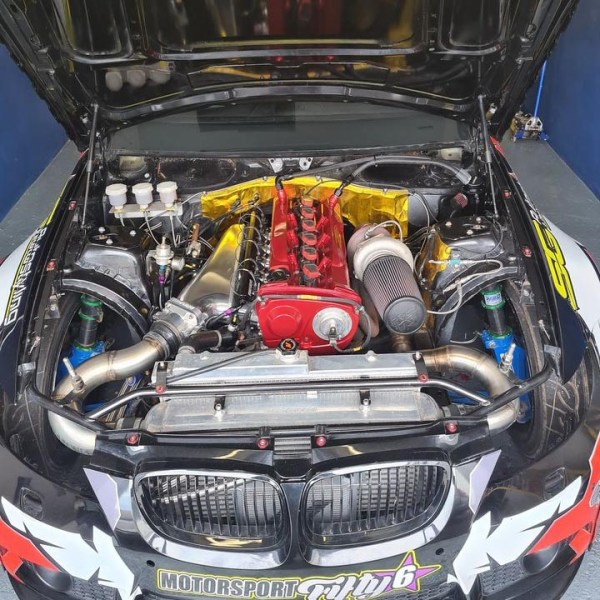BMW E92 with a turbo RB25 inline-six
