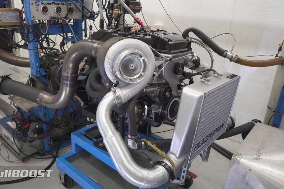 Corey Jackson's turbocharged Barra inline-six on dyno