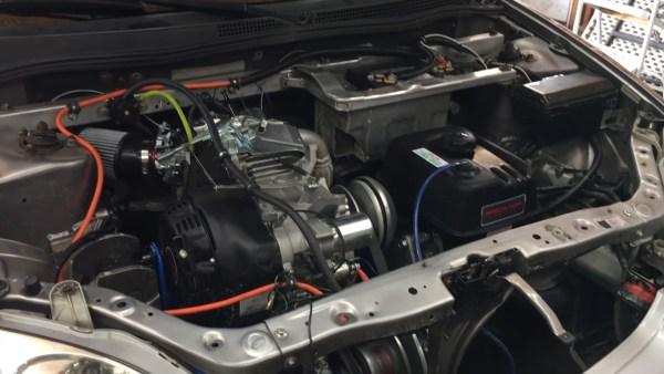 Honda Insight with a 420 cc Predator single-cylinder