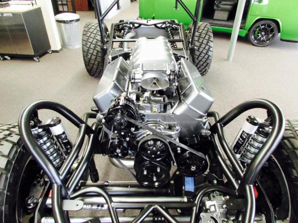 Divers Street Rods custom chassis with a 502 ci Chevy big-block V8 for a 1950 Jeepster
