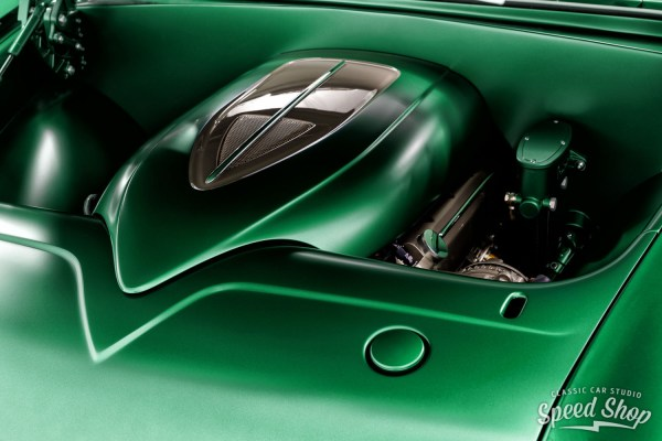 Supercharged LT4 V8 in a 1955 Chevy Bel Air engine bay built by Classic Car Studio
