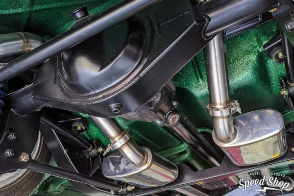 Ford 9-inch rear end and Roadster Shop chassis under a 1955 Chevy Bel Air built by Classic Car Studio