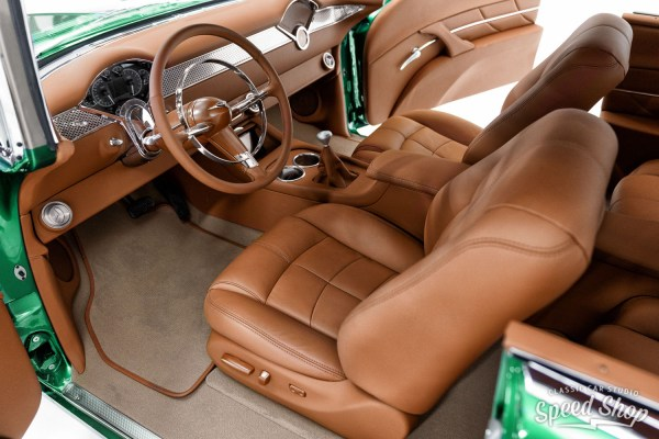 custom leather interior by Classic Car Studio in a 1955 Chevy Bel Air with a Supercharged LT4 V8