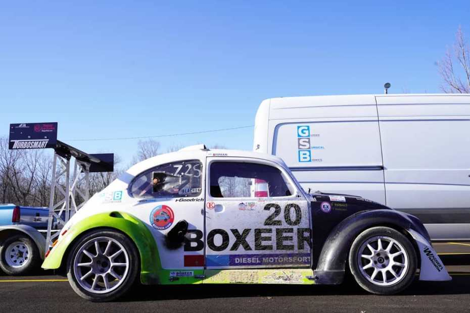 Beetle race car with a compound turbo TDI Diesel inline-four