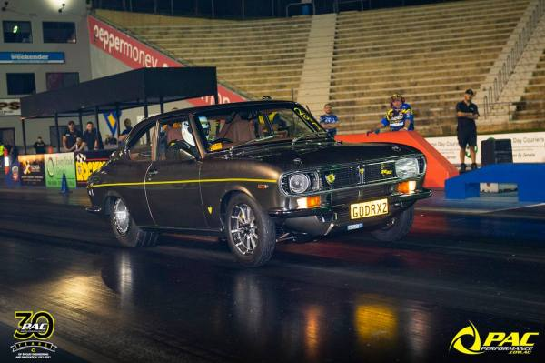 Mazda RX-2 with a turbo 20B three-rotor built by PAC Performance