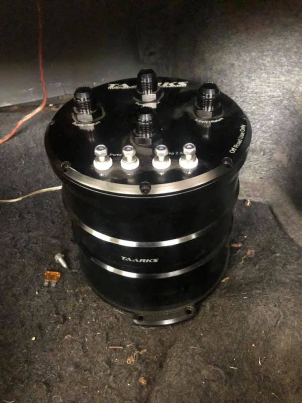 Taarks surge tank with three Hellcat fuel pumps to feed fuel for a 2JZ-GTE inline-six