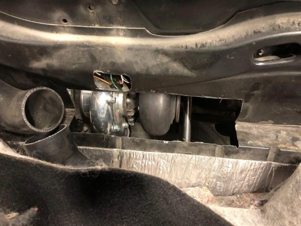 hole cut into Pontiac Fiero trunk for a turbocharged VR6