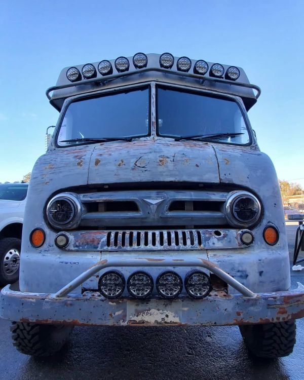 custom 1953 Ford van with a Cummins 6BT and 4WD drivetrain