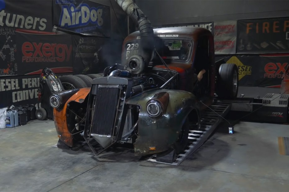 1945 Chevy race truck with a compound turbo Cummins inline-six