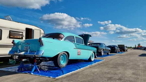 1956 Chevy 150 built by Frantzen Racing with a turbo 2JZ inline-six