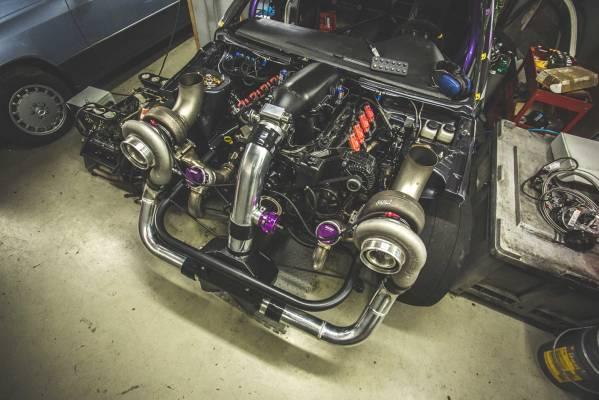 Mitsubishi Evo 8 with a twin-turbo LSx V8